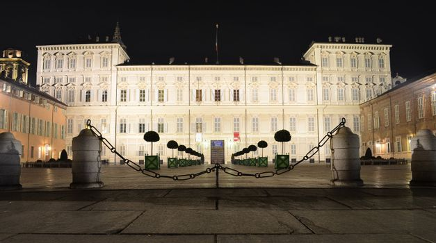 Palazzo Reale in Turin at night