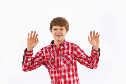 attractive smiling boy in studio