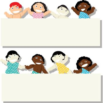New born babies of different ethnicity with banner, isolated objects on white background