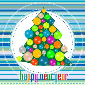 Christmas tree with decorations. new year greetings card