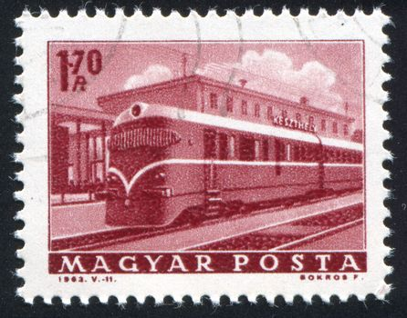 HUNGARY - CIRCA 1963: stamp printed by Hungary, shows locomotive, circa 1963