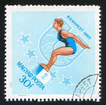 HUNGARY - CIRCA 1965: stamp printed by Hungary, shows swimmer, circa 1965