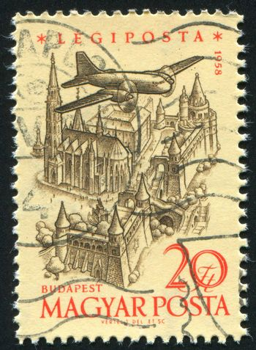 HUNGARY - CIRCA 1958: stamp printed by Hungary, shows Plane over Budapest, circa 1958
