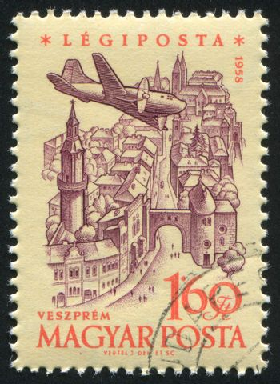 HUNGARY - CIRCA 1958: stamp printed by Hungary, shows Plane over Veszprem, circa 1958