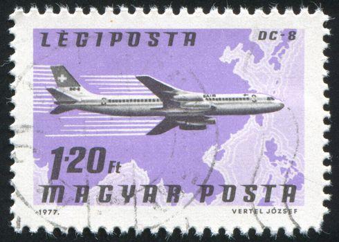 HUNGARY - CIRCA 1977: stamp printed by Hungary, shows plane, circa 1977