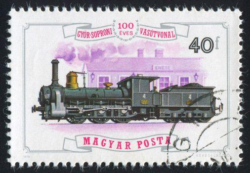 HUNGARY - CIRCA 1976: stamp printed by Hungary, shows locomotive, circa 1976