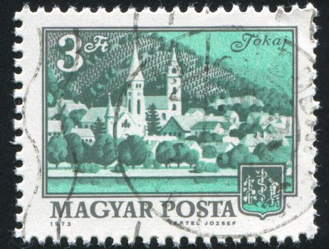 HUNGARY - CIRCA 1973: stamp printed by Hungary, shows Tokay and vineyard, circa 1973