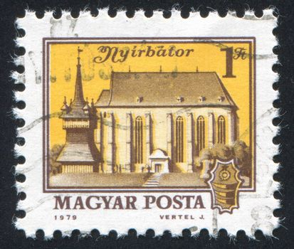 HUNGARY - CIRCA 1979: stamp printed by Hungary, shows Calvinist Church, Nyirbator, circa 1979