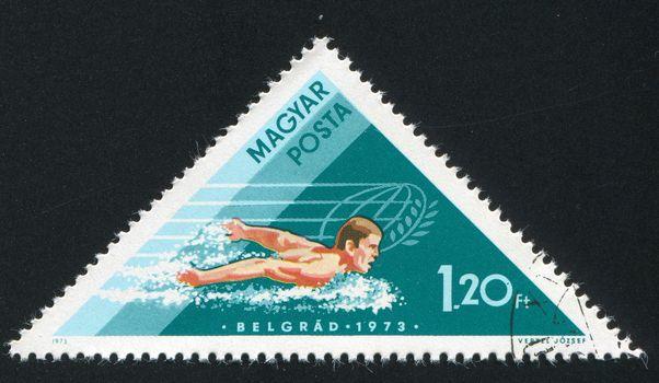 HUNGARY - CIRCA 1973: stamp printed by Hungary, shows swimmer, circa 1973