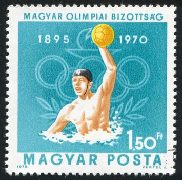 HUNGARY - CIRCA 1970: stamp printed by Hungary, shows Water polo and Olympic Rings, circa 1970