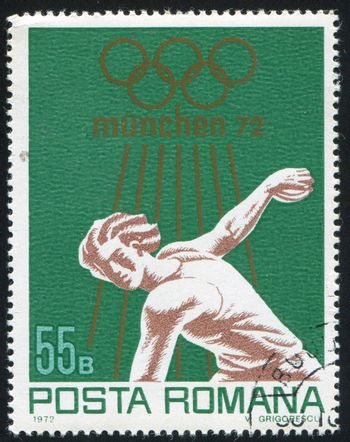 ROMANIA - CIRCA 1972: stamp printed by Romania, shows Olympic rings and athlete, circa 1972