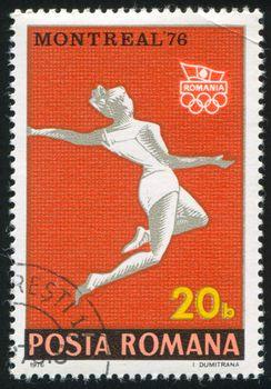 ROMANIA - CIRCA 1976: stamp printed by Romania, shows woman athlete, circa 1976