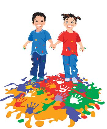 Children while painting