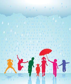 Happy children in the rain