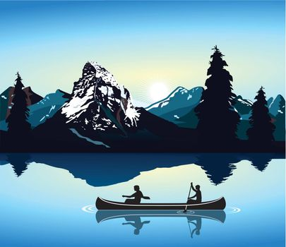 canoeing and mountain scenery