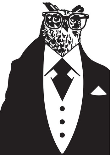 owl with Dinner jacket