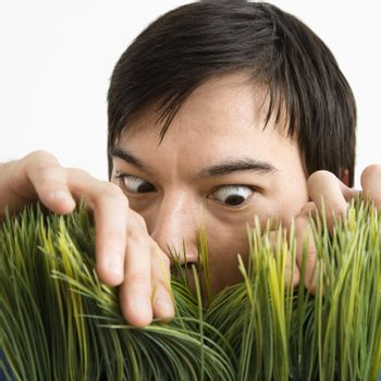 Asian young man looking through grass with determined expression.