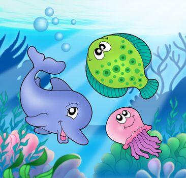 Cute marine animals - color illustration.