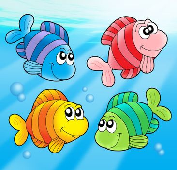 Four cute fishes - color illustration.