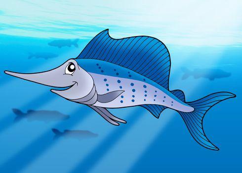 Sailfish in sea - color illustration.