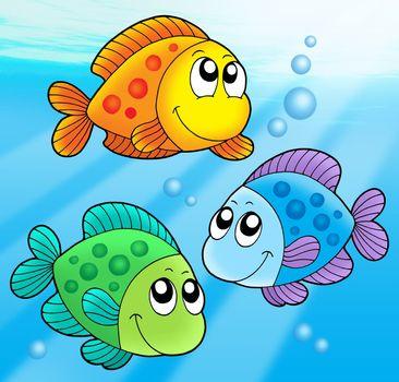Three cute fishes - vector illustration.