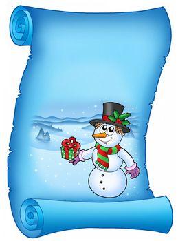 Blue parchment with Christmas snowman - color illustration.