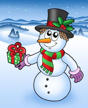 Christmas snowman in snowy landscape - vector illustration.