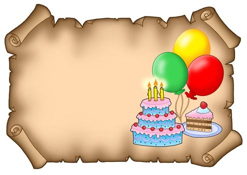 Parchment party invitation with cakes - color illustration.