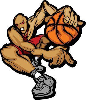 Basketball Player Cartoon Dribbling Basketball Vector Illustration