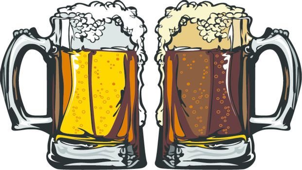 Beer or Root Beer Mugs Vector Images