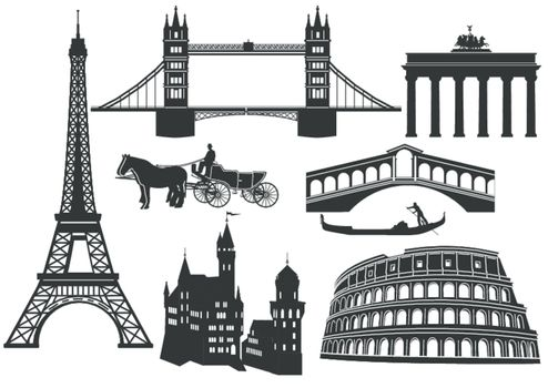 Main cities and sights in Europe