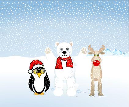 Penguins, polar bears and reindeer are celebrating Christmas