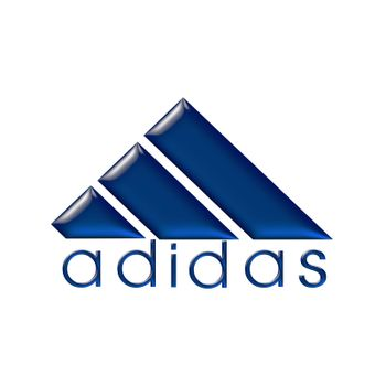 ADIDAS logo on tridimensional glossy blue on a white background