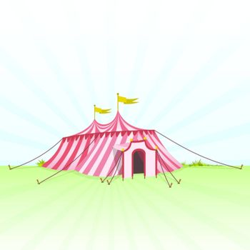 Red and White stripes on classic Circus Tent on Green Grass