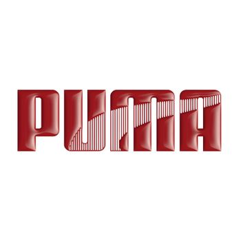 PUMA Logo in red on a white background. Tridimensional glossy image.