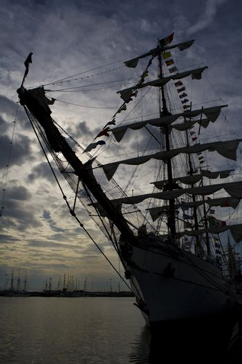 Tallship in dock on sunset in Portugal