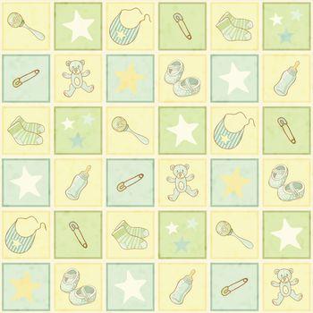 cute newborn seamless background, vector illustration, eps10