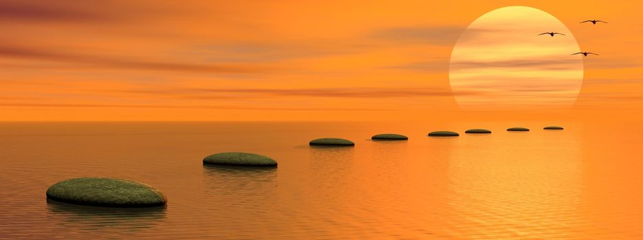 Grey stones steps upon the ocean going to the sun and birds by sunset