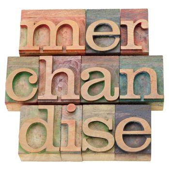 merchandise word in letterpress type
