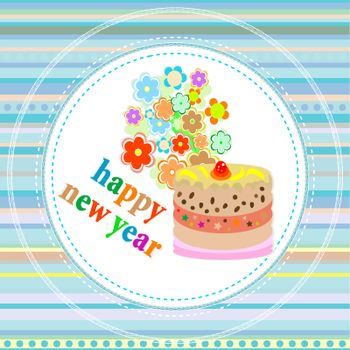 New Year's card with a cake, flowers and Christmas greetings