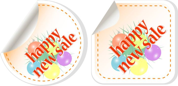 Happy New Sale stickers with christmas balls set. vector