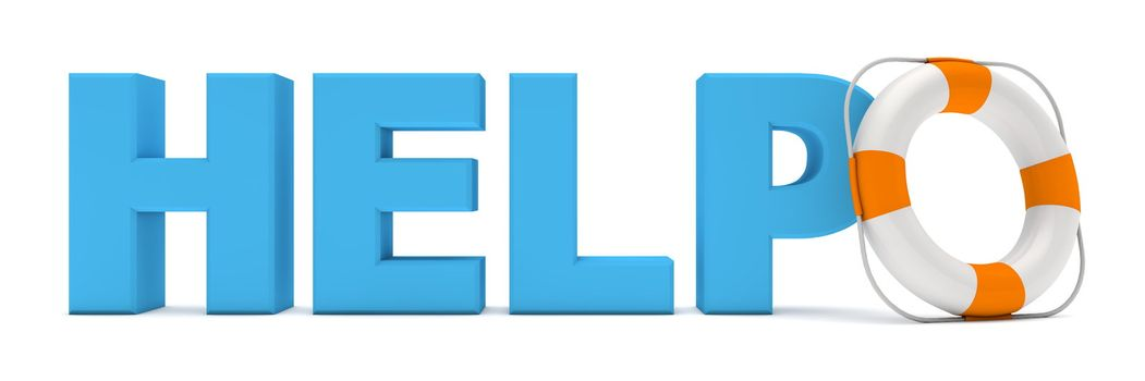 Blue Word Help with Lifebelt - Front View