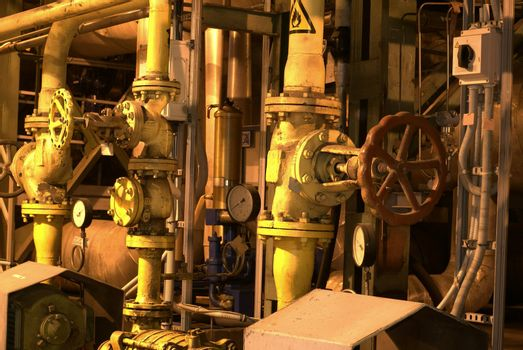 Factory machines and piping