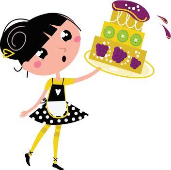 Retro kitchen Girl with big fruity Cake isolated on white