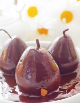Pear with chocolate, sweet food