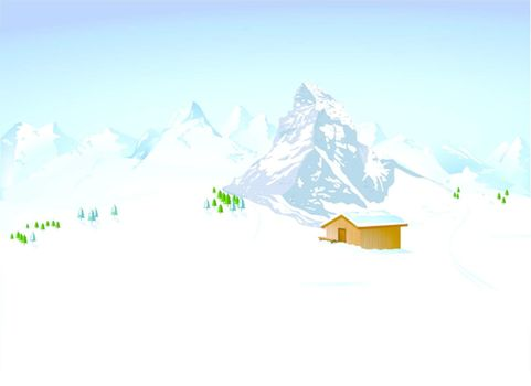 winter landscape with mountain shelter