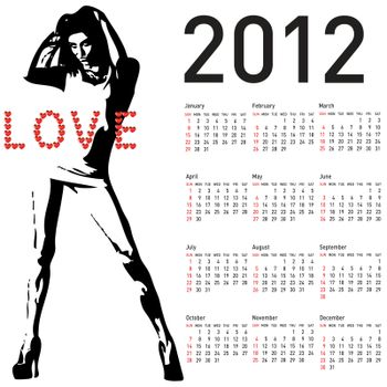 2012 calendar with fashion girl