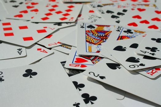 Close up of a group of playng cards.