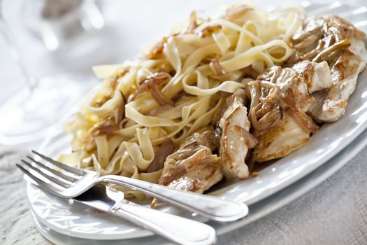 Tagliatelle and Chicken Meal