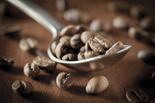 Warm Spoon of Coffee Beans